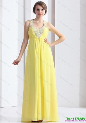 Modest 2015 Cheap Halter Top Yellow Prom Dress with Floor Length