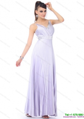 Modest 2015 Empire V Neck Prom Dress with Pleats and Beading