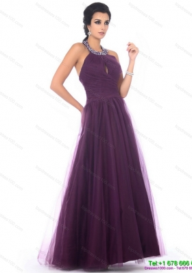 Modest 2015 Halter Top Prom Dress with Ruching and Beading