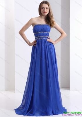 Modest 2015 Strapless Prom Dress with Ruching and Beading