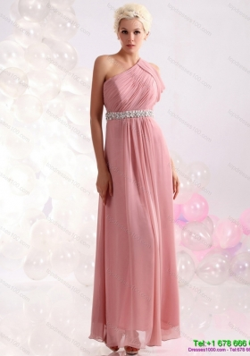 Modest 2015 Wonderful One Shoulder Prom Dress with Beading and Ruching