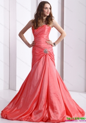 Modest Ruching and Beading Prom Dress with Brush Train