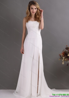 Modest Ruching and High Slit 2015 Prom Dress in White