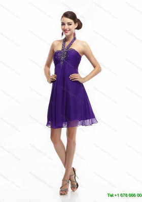 Purple Beading Halter Top 2015 Prom Dresses with Ruching