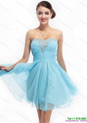 Ruching Strapless Beading Short Prom Dresses for 2015