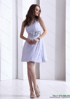 Sequined 2015 Discount One Shoulder White Prom Dress with Ruching and Sequins