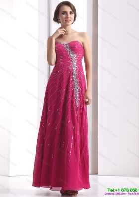 Sequined 2015 Pretty Sweetheart Floor Length Prom Dress with Beading