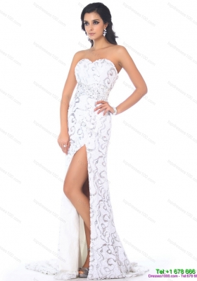 Sequined 2015 Sexy Sweetheart Printed White Prom Dress with High Slit