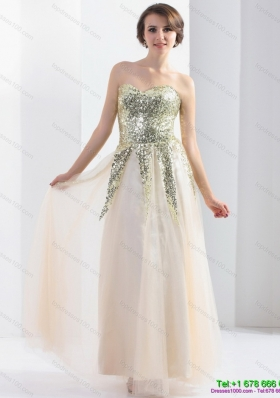 Sequined 2015 Sweetheart Floor Length Prom Dress with Sequins