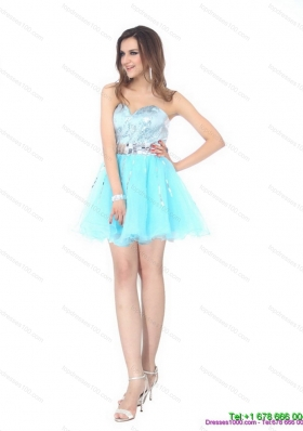 Sequined 2015 The Super Hot Sweetheart Light Blue Prom Dress with Sequins