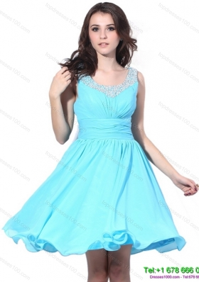 Sequined Beading and Ruching 2015 Prom Dress in Aqua Blue