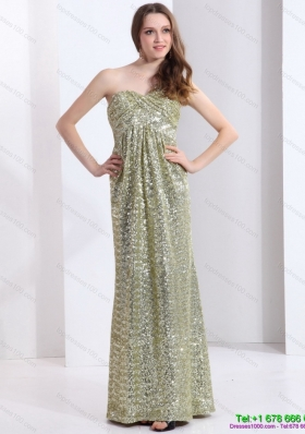 Sequined One Shoulder Floor Length Sequined Prom Dress for 2015