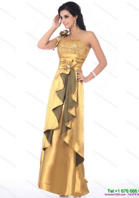 Sequined One Shoulder Gold Prom Dress with Hand Made Flowers and Ruching