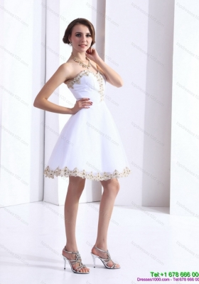 White Sweetheart Beaing Prom Gown with Appliques