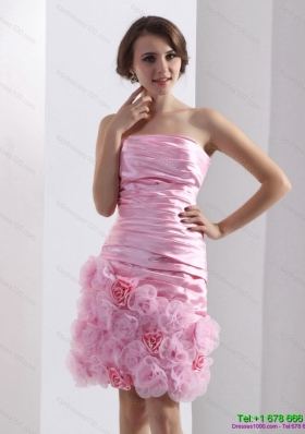 2015 Lovely Strapless Ruching Mini Length Prom Dress in Baby Pink