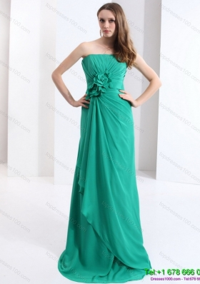 2015 New Style Strapless Prom Dress with Hand Made Flowers and Ruching