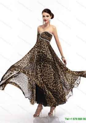 Cheap Sweetheart Leopard Floor Length Prom Dress for 2015