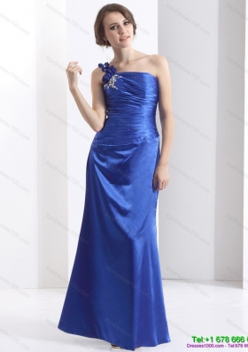 New Style One Shoulder 2015 Prom Dress with Ruching and Beading