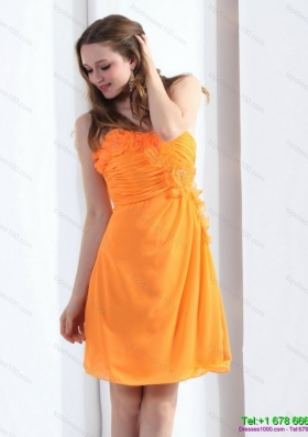 2015 Gorgeous Strapless Orange Prom Dress with Hand Made Flowers and Ruching