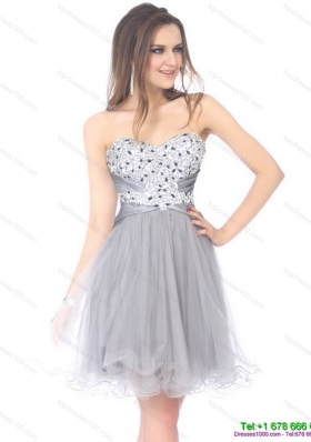 2015 Luxurious Sweetheart Grey Prom Dress with Rhinestones