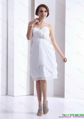 2015 Perfect Sweetheart White Prom Dress with Hand Made Flowers and Ruching