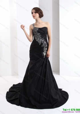 2015 Romantic One Shoulder Prom Dress with Brush Train