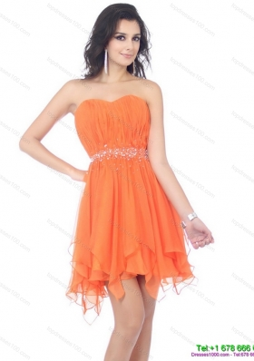 2015 Romantic Sweetheart Beading and Ruching Prom Dress in Orange