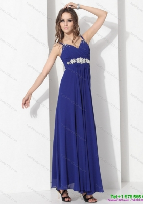 2015 Wonderful Ankle Length Blue Prom Dress with Beading