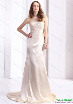 Elegant 2015 Prom Dress with Brush Train and Ruching
