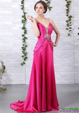 Exquisite Brush Train 2015 Prom Dress with Ruching and Beading