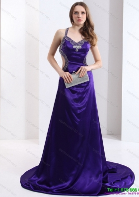 Luxurious 2015 Halter Top Purple Criss Cross Prom Dresses with Court Train