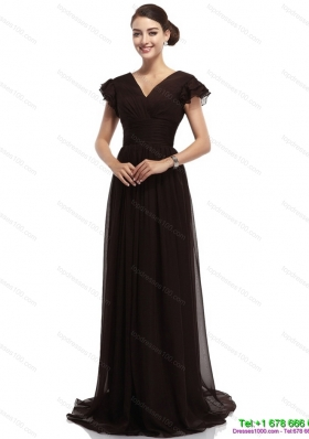 Popular Cap Sleeves and Brush Train 2015 Prom Dress in Black