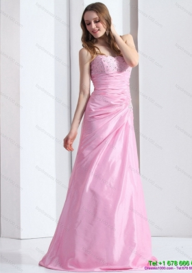 2015 Exclusive Baby Pink Sweetheart Prom Dress with Beading and Ruching