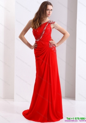 Elegant 2015 One Shoulder Red Prom Dress with Beadings and Brush Train