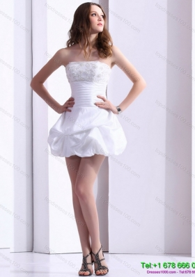 2015 wonderful strapless lace beach wedding dress with mini length