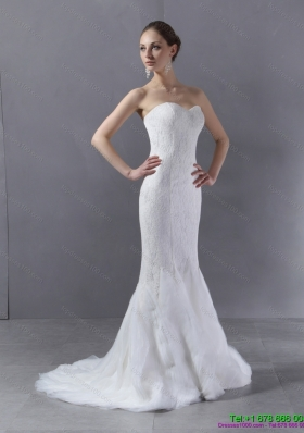 2015 Classical Sweetheart Mermaid Wedding Dress with Lace