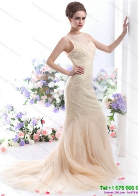 Gorgeous 2015 Scoop Wedding Dress with Beadings