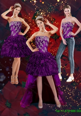 2015 Detachable Beautiful Purple Strapless Prom Skirts with Embroidery and Ruffles