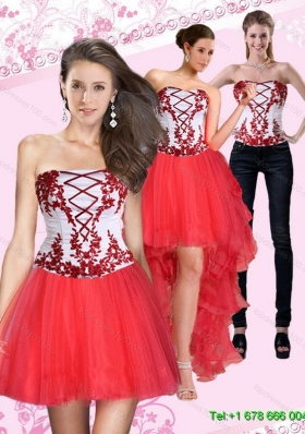 2015 Detachable New Style Strapless Multi Color Short Prom Skirts with Embroidery