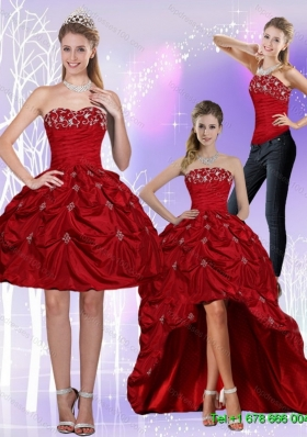 2015 Detachable New Style Strapless Wine Red Prom Skirts with Embroidery