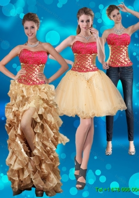 2015 Detachable Strapless Multi Color Prom Skirts with Beading and Embroidery