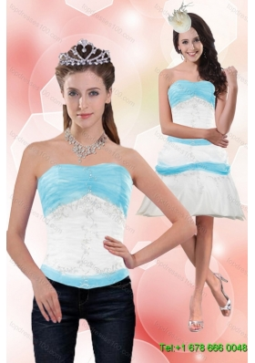 Classical 2015 Detachable Strapless Column Appliques Prom Skirts in White and Blue