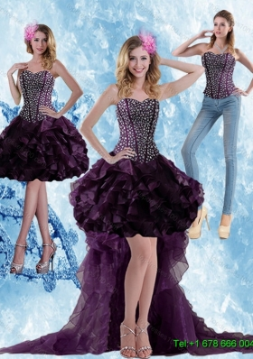 Detachable Elegant High Low Dark Purple Prom Skirts with Ruffled Layers and Beading