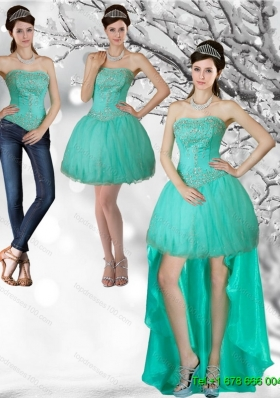 Detachable Unique Apple Green Strapess High Low Prom Skirts with Beading