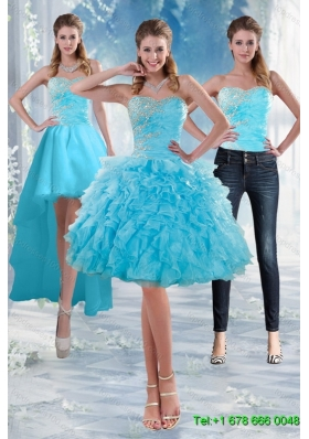 2015 Detachable Delicate Sweetheart Baby Blue Prom Skirts Gown with Appliques and Ruffles