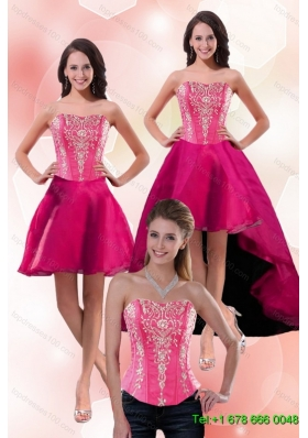 2015 Detachable Gorgeous Strapless Knee Length Prom Skirts with Appliques