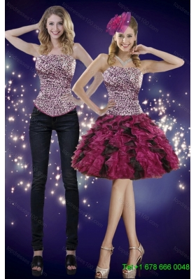 2015 Detachable Popular Ruffles and Leopard Prom Skirts in Multi Color