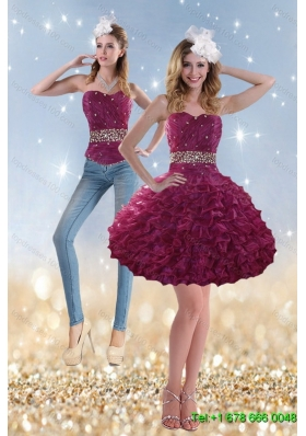 2015 Detachable Romantic Beading and Ruffles Prom Skirts in Wine Red