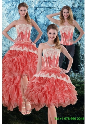 Inexpensive 2015 Detachable Appliques and Ruffles Strapless Prom Skirts in Watermelon