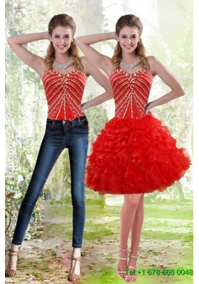Wonderful 2015 Detachable Red Prom Skirts with Beading and Ruffles
